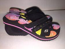 Skechers Spinners Glee Sandal Girls Size 12 NEW Platform Flip Flop Black