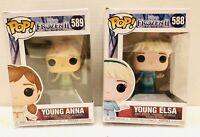 Disney Frozen 2 Young Anna #589 & Young Elsa #588 Funko Pop NIB