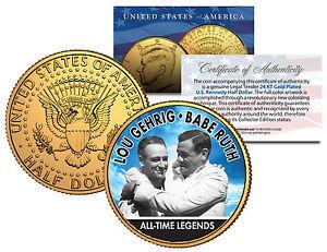 "BABE RUTH & LOU GEHRIG ""ALL TIME LEGENDS"" 24KT GOLD PLATED U.S. JFK HALF DOLLAR!"