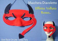 MASCHERA DIAVOLO DIAVOLETTO DIAVOLETTA EFFETTO VELLUTO CARNEVALE FESTA PARTY