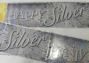 9ft Sparkly Happy Silver 25th Wedding Anniversary Party Banner Decorations  A
