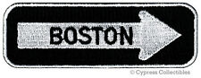 BOSTON ONE-WAY SIGN EMBROIDERED IRON-ON PATCH applique NEW ENGLAND SOUVENIR ROAD