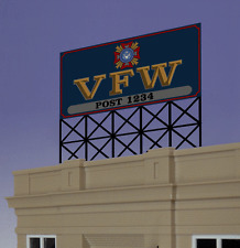 VFW POST BILLBOARD ANIMATED NEON SIGN FOR HO/O SCALE-LIGHTS, FLASHES