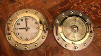 2 Vintage Japanese Landex Quartz Ship Brass Clock and Barometer