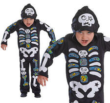 Childrens Skeleton Boy Fancy Dress Costume Skull Halloween Outfit Kids Childs M