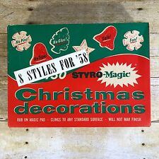 Vintage Christmas Decoration Styro Magic Cling Holiday Tree Decor Mid Century