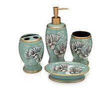 Bath Accessories 4 Piece Ceramic Set Soap Dispenser and Dish Toothbrush Holder