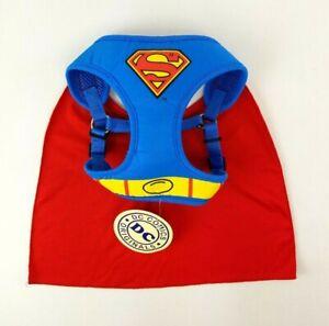 DC Comics Superman Dog Harness With Cape Dog Costume Hero New