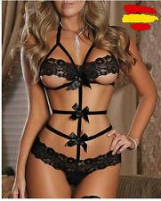 Vestido de lazos descubiertos Sexy negro lencería mujer erótico picardías
