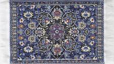 Small Turkish Carpet Rug Blue Patterned, Doll House Miniature, Mat Floor