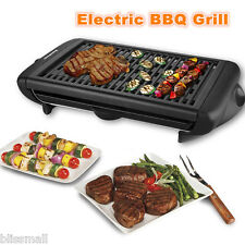 Electric Grill Griddle Portable Indoor Non Stick Barbecue Smokeless Cooking BBQ