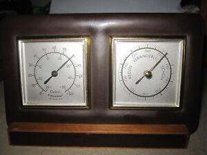 alte Wetterstation Barometer+Thermometer, für den Tisch,  50er/60er, 16 x 10 cm