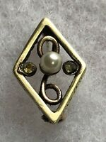 Antique Victorian Brooch Rolled Gold Pearl And Citrine Glass 1890s 1880s Retro