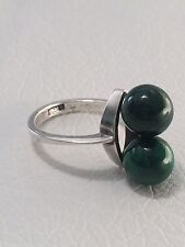Modernist Two Air Mounted Malachite Beads 892 S Silver Coin Ring Size 5