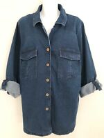 JESSICA LONDON Women Denim Shirt Jacket Sz 20 Stretch Roll Cuffs Button Up Blue