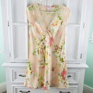 Oscar De La Renta Nightgown Sz M Satin Pink Label Peach Floral Lace Sleepwear