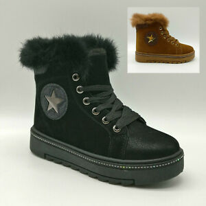 Womens Fur Lined Suede Warm Platform Heel Grip Snow Winter Star Trim Ankle Boots