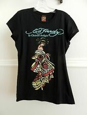 Ed Hardy by Christian Audigier Black Graphic Tee Japan Fashion 100% Cotton sz L