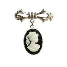 Black & White Cameo Brooch Pin Silver Victorian Gothic Steampunk wedding goth