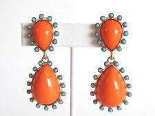 Designer Kenneth Jay Lane Gold turquoise coral cabochon teardrop clip earrings