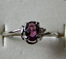 SIZE:7 ~ ROUND ~  AMETHYST ~ 18KGP ~WHT~GOLD ~RING -- (GREAT_CHRISTMAS_GIFT)
