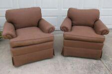 Pair Kravet Brown Upholstered Swivel Club Arm Chairs