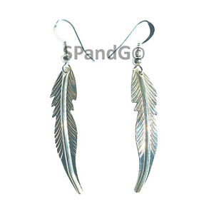 Unique Curved 2-inch Long Navajo Hanging Feather Earrings - Handcrafted