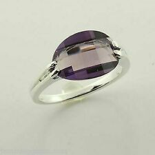 Clearance Sterling ALEXANDRITE Lab Created Sapphire Boat Design Ring Size 7