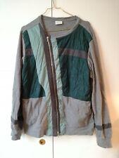 DRIES VAN NOTEN Colorblock Gesteppter Asymmetrischer Sweater Grün | Größe M |