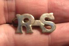 A nice quality single white metal Royal Scotts Volunteers RS collar badge     B