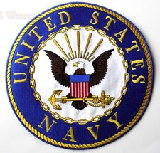 US NAVY USN LARGE HIGH QUALITY EMBROIDERED PATCH 10 INCHES