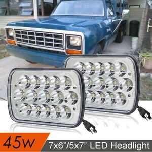 "2pc H4 Plug LED Light Bulbs 7x6"" Square Headlight 6000K Super White For Dodge"