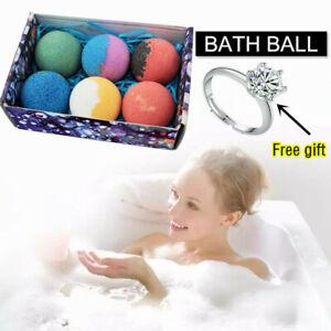 6Pc Bath Bombs Fizzy Moisturize Spa Bath Body Bubble Ball Cleaner Christmas Gift