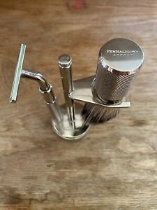 PENHALIGON'S LONDON VINTAGE SILVER COLOUR SHAVING SET EXCELLENT CONDITION !!!!!!