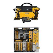 DEWALT Drill Driver Impact Combo Kit 20v Lithium (1.3Ah) Screw Driving Tool Set