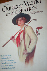OLD 1912-1913 6 OUTDOOR WORLD and RECREATION Magazines! Woman Golfer Cover!