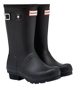 Hunter Original Big Kids Wellington Boots Black Girls Boys Wellies Size UK 10