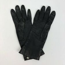 Vintage Black Leather Women's Gloves - 100% Pure Silk Lined - Made In Italy