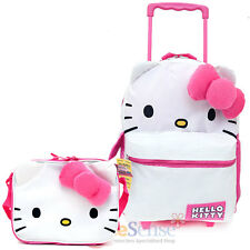 Sanrio Hello Kitty Large School Roller Backpack Lunch Bag 2pc Trolley Rolling