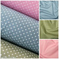 Polka Dot 100% Cotton Poplin Fabric Pale Pink  Blue & Green Colours