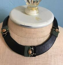Brown Leather Covered Rigid Collar Designer Necklace Bead Gold Embellished 1980