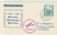 DDR 1963 Airmail Berlin Moskau Lufthansa Slogan Cancel Stamps Cover ref 22725