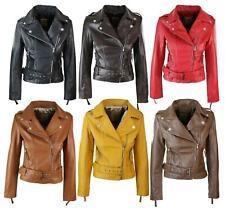 Ladies Womens Black Real Leather Slim Fit Soft Zip Biker Style Jacket
