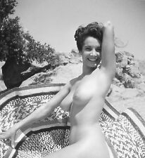 1950s Nude Busty Pinup on beach with sombrero style blanket 8 x 8 Photograph
