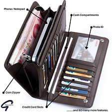 New Mens Womens Black PU Leather Cash Card Phone Holder Purse Clutch Wallet