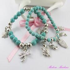 2pce Bohemian Style Turquoise Beaded Stretch Charm Bracelet Set