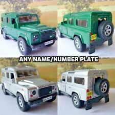 PERSONALISED PLATE 4x4 LAND ROVER DEFENDER Toy Model Present Boxed 2 Colours