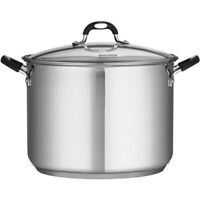 16 Quart Stainless Steel Covered Stock Pot Large Soup Boiler Glass Lid Durable