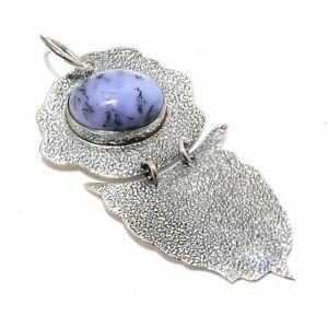 "Dendrite Opal Gemstone Handmade Ethnic 925 Sterling Silver Pendant 2.4"""