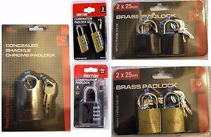 NEW BRASS PADLOCKS WITH KEYS OR COMBINATION LOCK VARIOUS SIZES-SECURE BELONGINGS